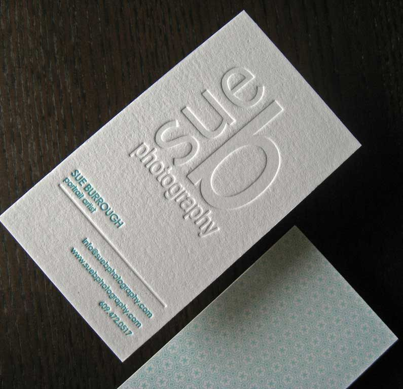 white letterpress business cards with blind embossed logo | Business ...