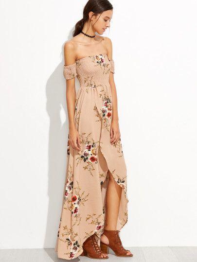 ac36e4b48f Pink Rose Print Off The Shoulder Wrap Dress -SheIn(Sheinside ...