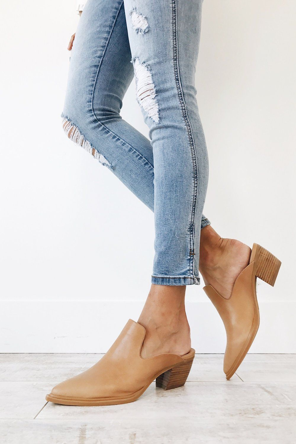 Light Tan Mules Closed Pointed Toe