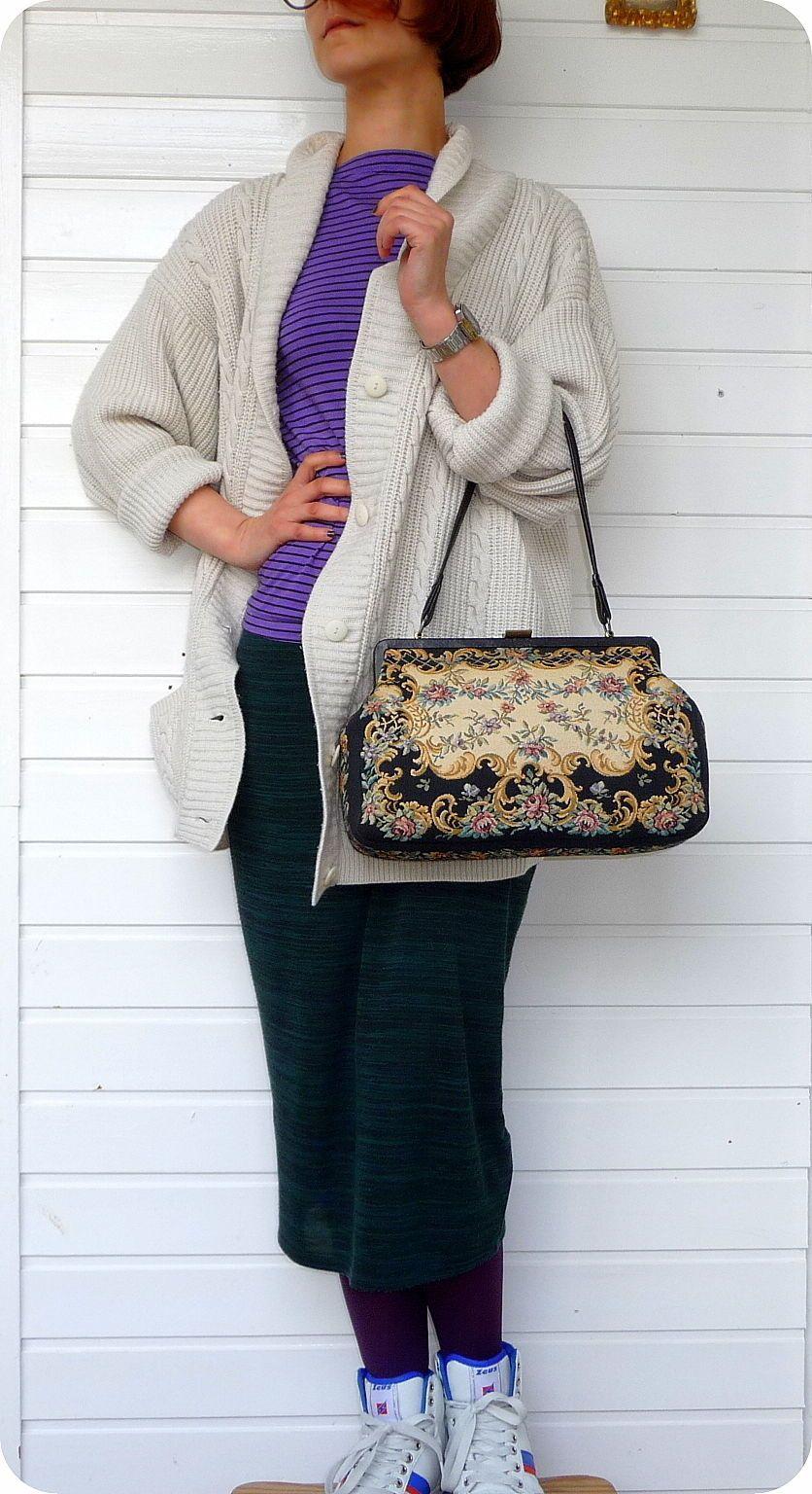 Vintage Gobelin Stoff Leder Tasche Bag Schultertasche Handtasche