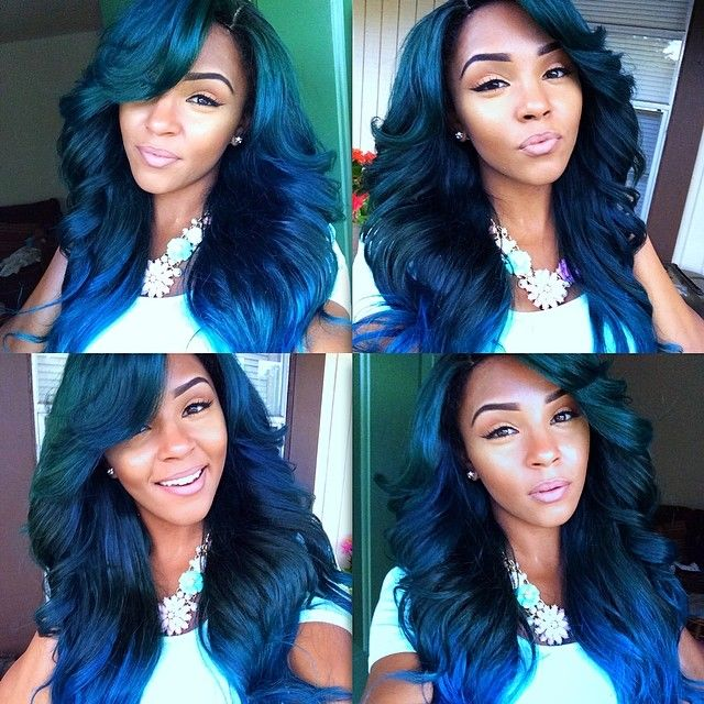 Blue green hair! I love it! I just don't know how it would look with my natural curly hair, lol!
