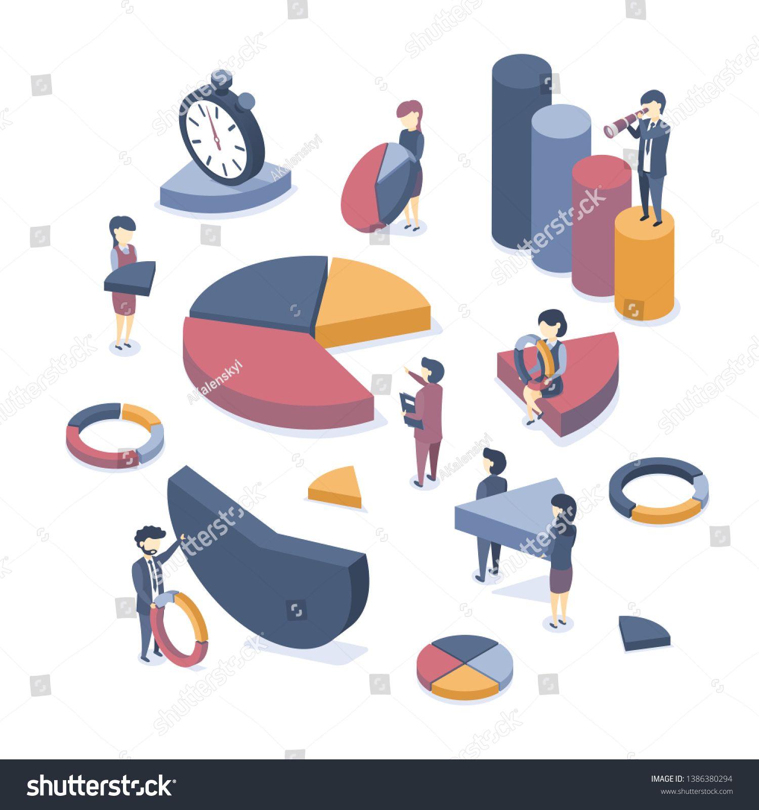 Isometric Vector Illustration Concept Of Data Analysis