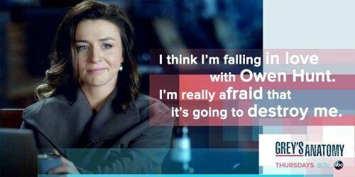 Amelia falling for Owen Hunt . Greys Anatomy
