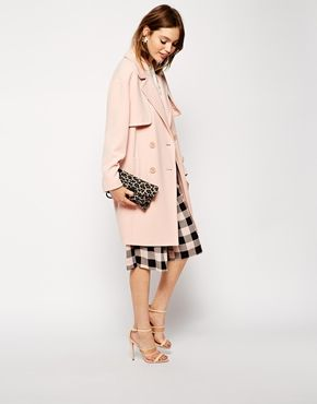 {ASOS Coat In Cocoon Fit With Stormflaps in Blush Pink}