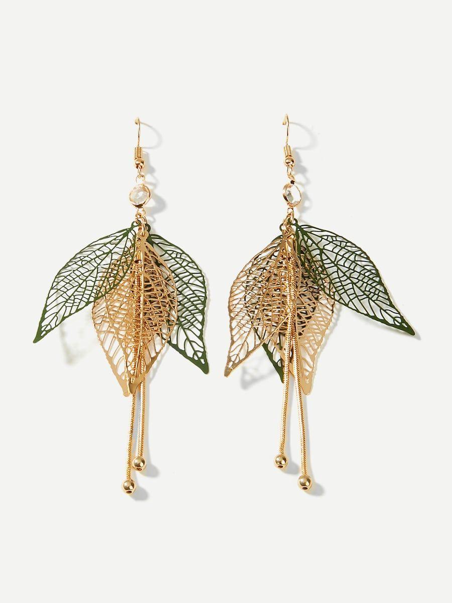f54913f9b4 Layered Hollow Leaf Drop Earrings -SheIn(Sheinside) | Clothes ...