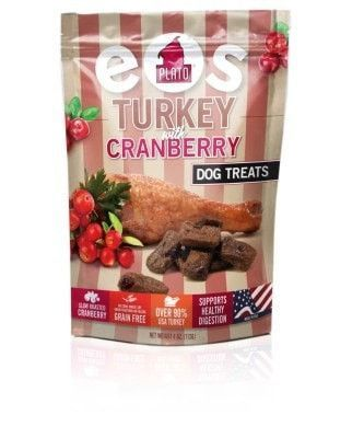 DOG TREATS - ALL OTHER - EOS GRAIN FREE TURKEY/CRANBERRY TREATS - USA - 4 OZ - PLATO PET TREAT/KDR PET TREATS - UPC: 859554001571 - DEPT: DOG PRODUCTS
