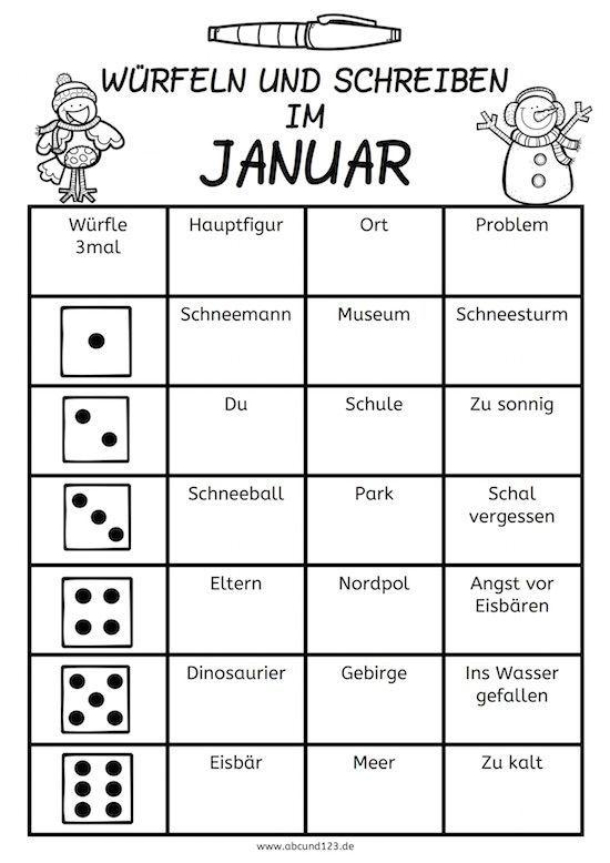 Würfeln und schreiben im Januar #schreiben #kreativ: | Deutsch ...
