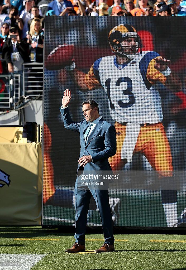 Super Bowl Xxxiv Mvp Kurt Warner Of The St Louis Rams Looks On During St Louis Rams Super Bowl Levi Stadium