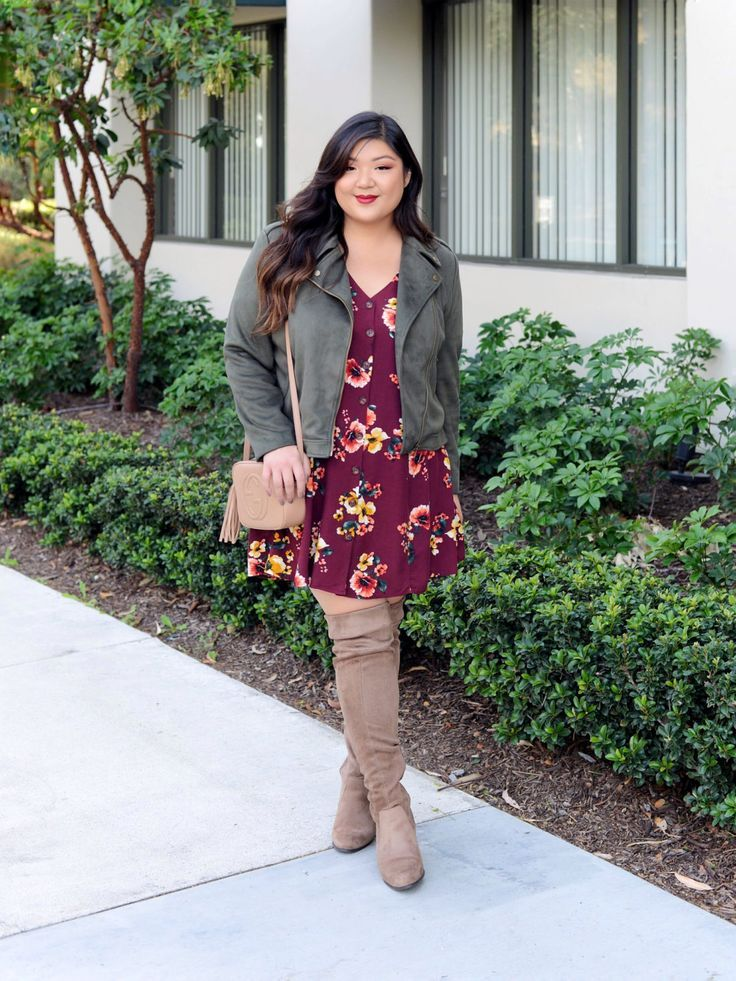 Curvy Girl Chic Plus Size Fashion Blogger Thanksgiving Outfit Idea with Floral Dress and Olive Moto Jacket and Over the Knee Boots #thanksgivingoutfit