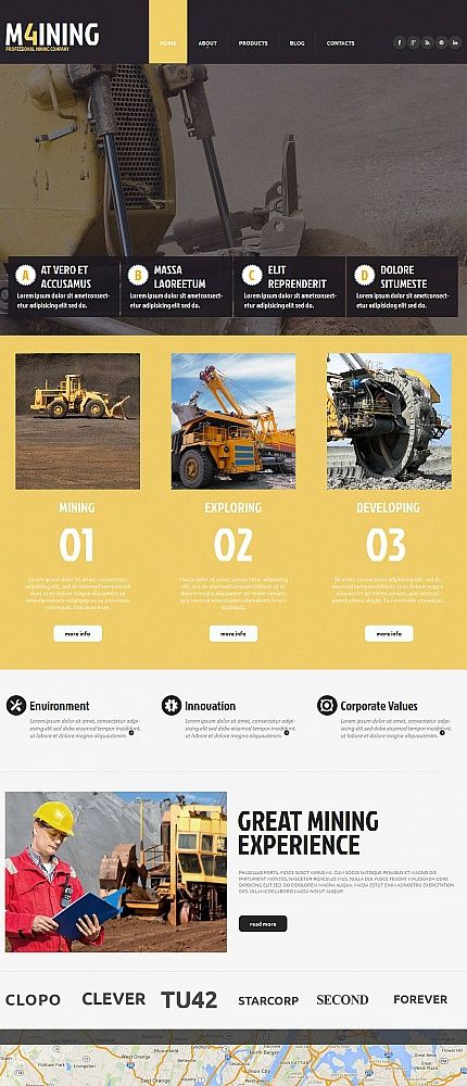 Industrial Website Template With Creative Design Website Template Design Website Template Html Templates