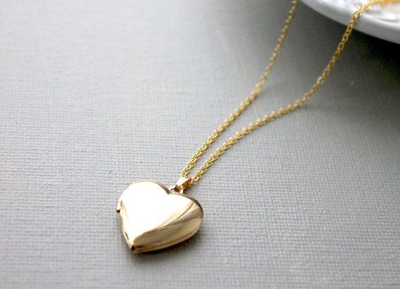 gold heart locket necklace