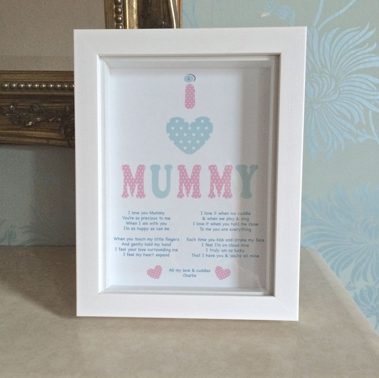 Personalised I Love Mummy Poem Mum Birthday Gift New Baby MUM Plaque Framed Poetry Print Nursery Decor Wall Art By