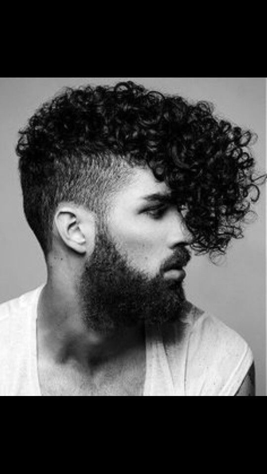 A Medium Black Curly Quiff Shaved Sides Beard Mens Haircut Hairstyle By Rainbow Room