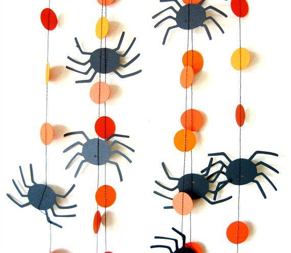 Spider Circle Garland Orange and black Halloween Halloween - spiders for halloween decorations