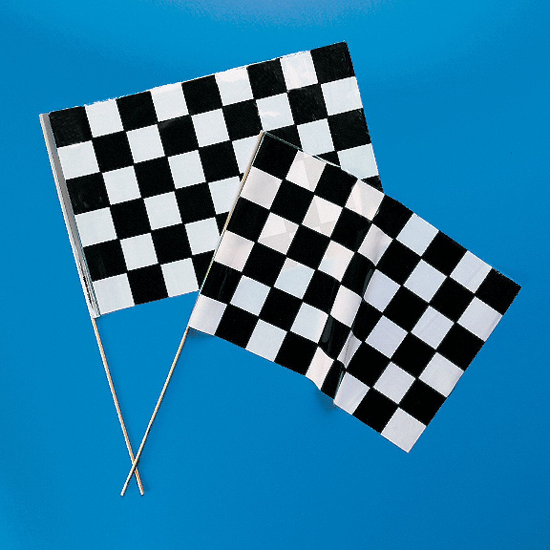 Medium Plastic Black Amp White Checkered Racing Flags