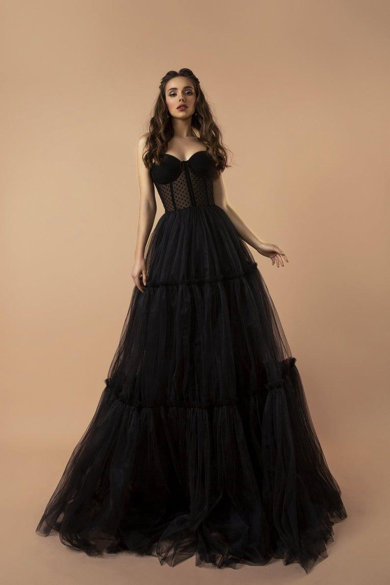 Black Dress Tulle Dress Maxi Dress Party Dress Christmas Gown Sleeveless Evening Dress Evening Gown Wedding Guest Dress Corset Dress Black Corset Dress Prom Dresses Corset Dress Prom [ 1191 x 794 Pixel ]