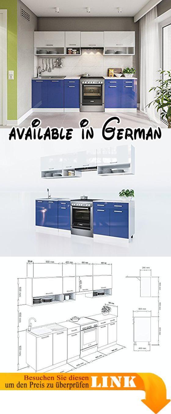 B077G2RNLT  ELDORADO-MÖBEL KÜCHE LUX 260 CM BLAU KÜCHENZEILE - küche 270 cm