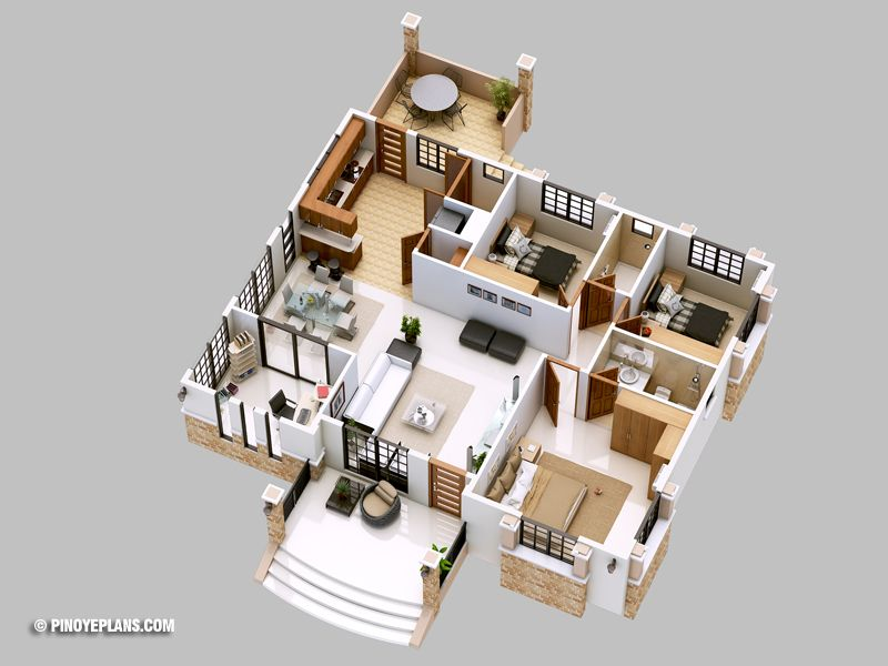 Three Bedroom Bungalow House Design Pinoy Eplans Bungalow Floor Plans Bungalow House Design Bungalow House Plans