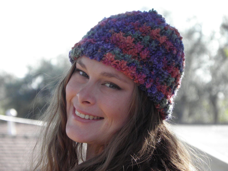 Hand Loom Knit Beanie Bright Multi-Colored (Item #27) by yarncraftsbymom on Etsy