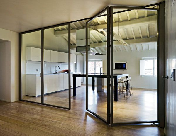 Interior glass wall folding door gdo pinterest for Collapsible glass wall