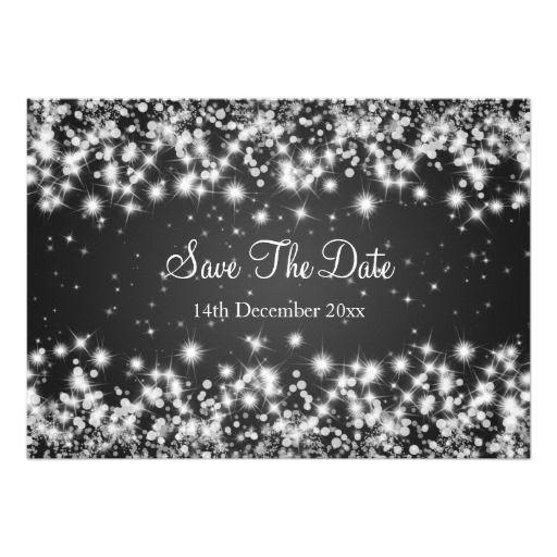 Wedding Save The Date Winter Sparkle Black Card – Winter Wedding Save the Date