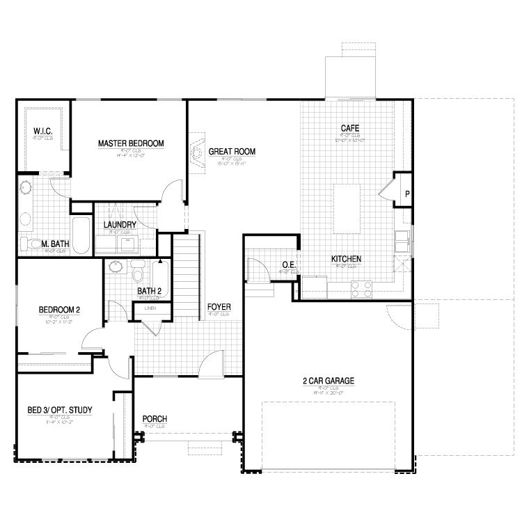 California Collection 1550 Contemporary Main Level Floor Plan Floor Plans House Floor Plans House Plans