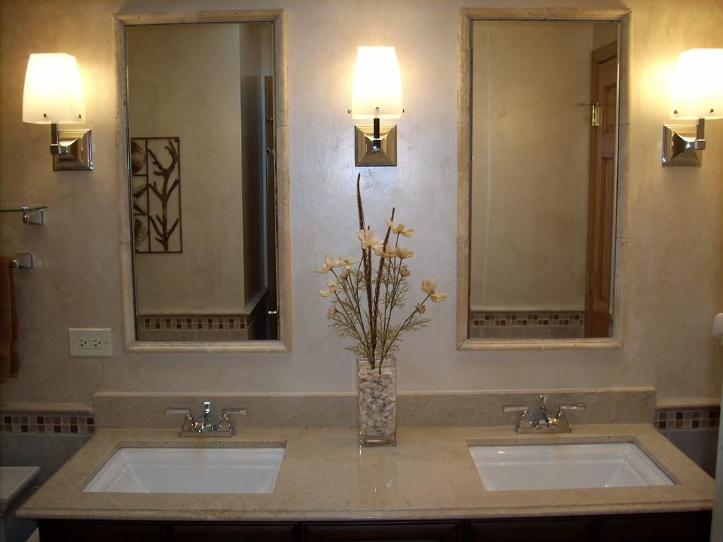 Marble Top Over A Custom Vanity With Tile Around The Mirrors By - Mosaic tile around bathroom mirror for bathroom decor ideas