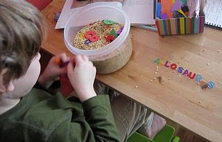 sift and spell: letters buried in rice or beans