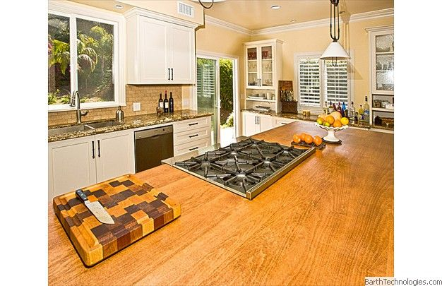 Gas stove top in kitchen island