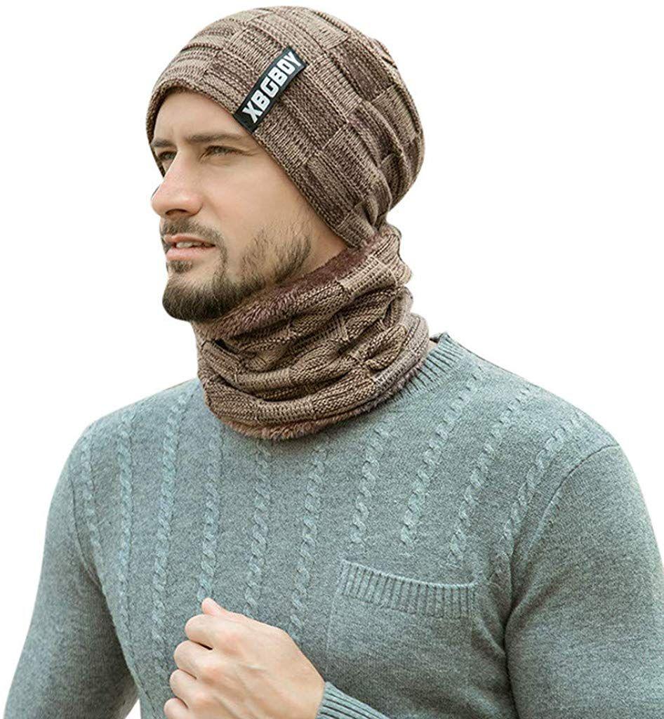 Beanie Skull Cap Unisex Wool Knit Winter Hat Beanie+Neckerchief For Men Women