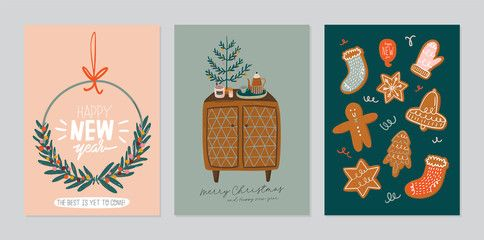 Set of invitation card  scandinavian interior with home decorations Cozy Winter holiday season Cute illustration and Christmas typography in Hygge style Vector Isolated