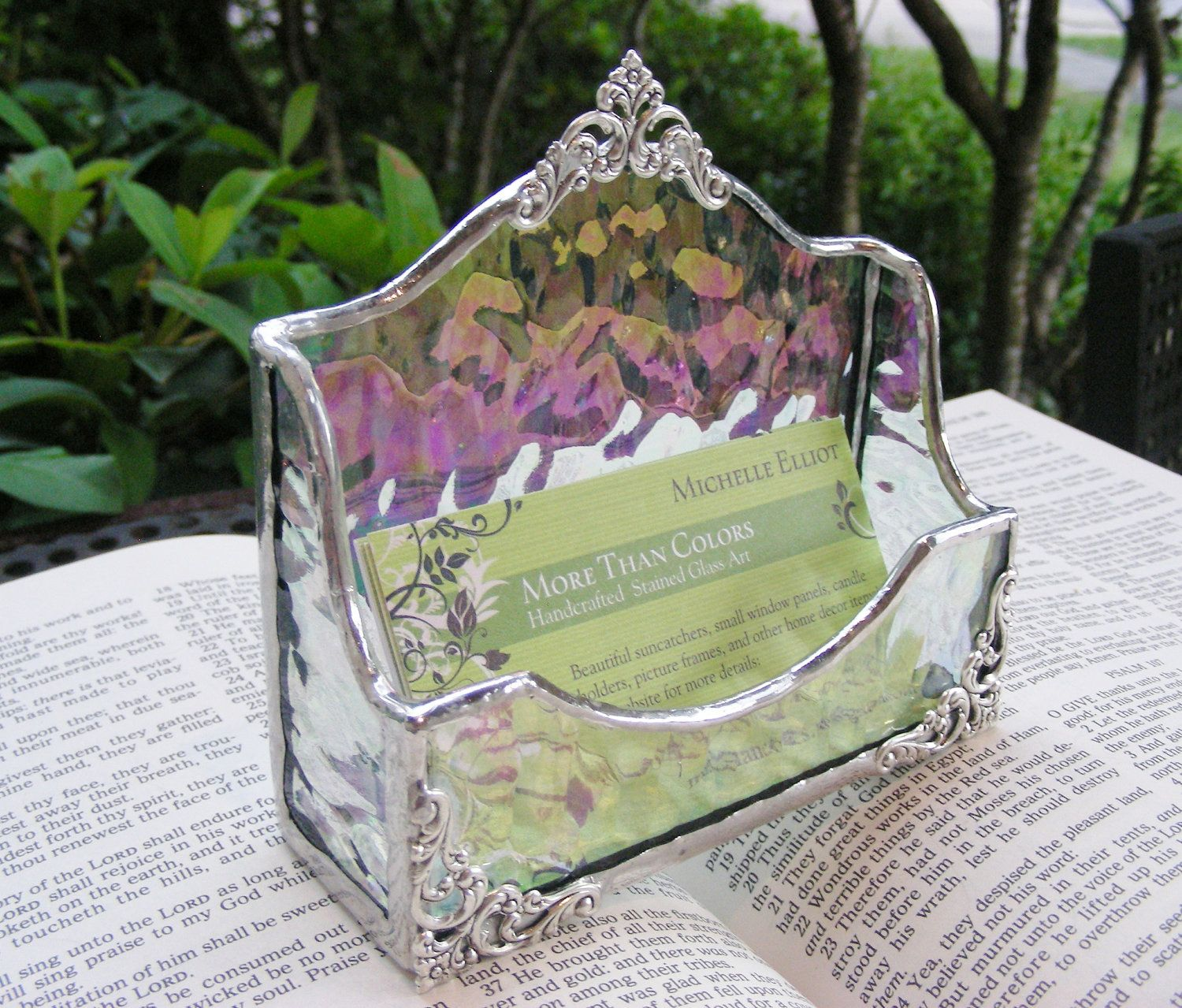 Clear iridescent business card holder 3650 via etsy salon clear iridescent business card holder 3650 via etsy magicingreecefo Images