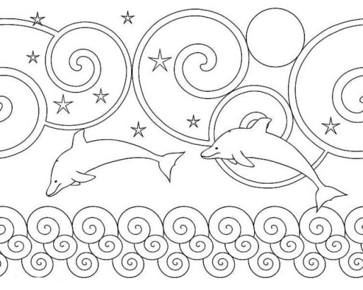 Beautiful Simple Doodle Of A Dolphin Coloring Page