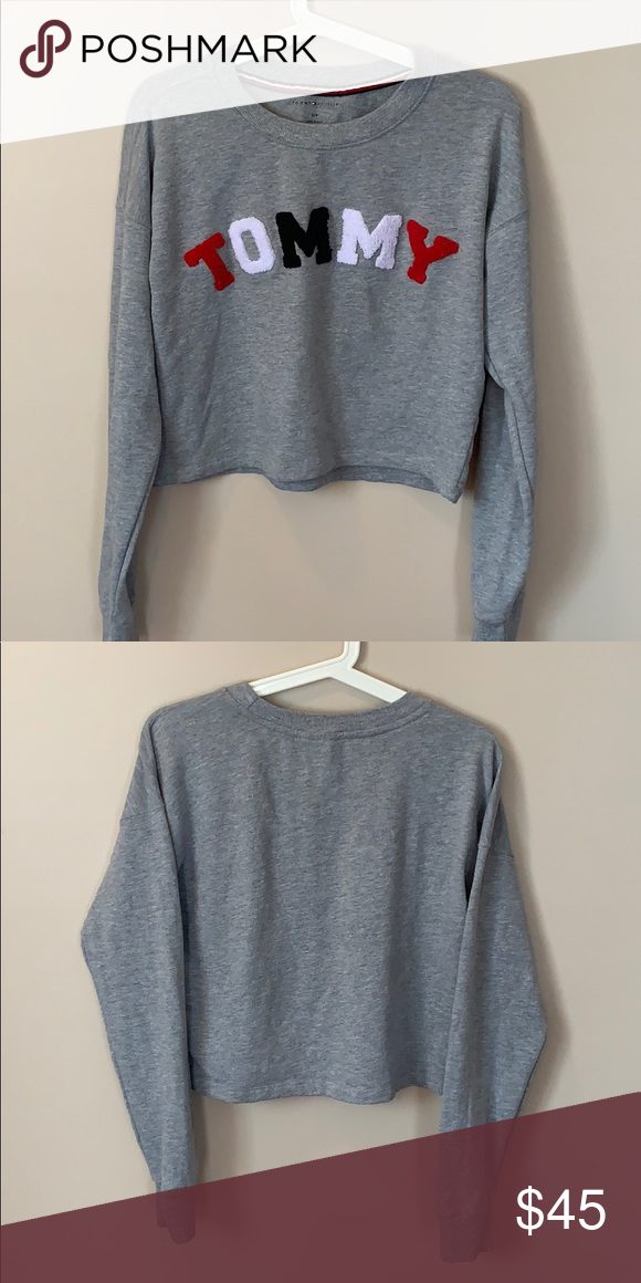 46ba38718bf299 Tommy Hilfiger Cropped Long Sleeve Gray cropped Tommy long sleeve shirt  with word  Tommy  written in red