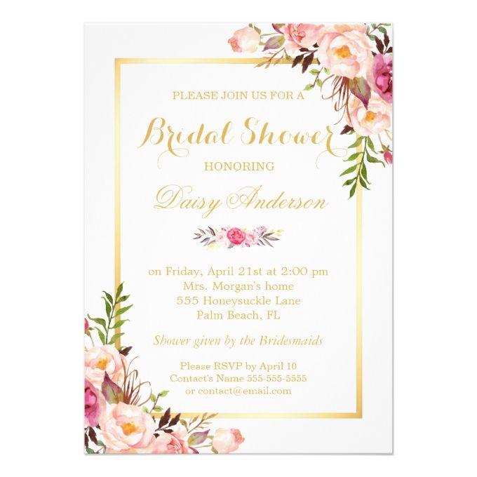 Wedding Bridal Shower Chic Floral Golden Frame Card   Invitaciones ...