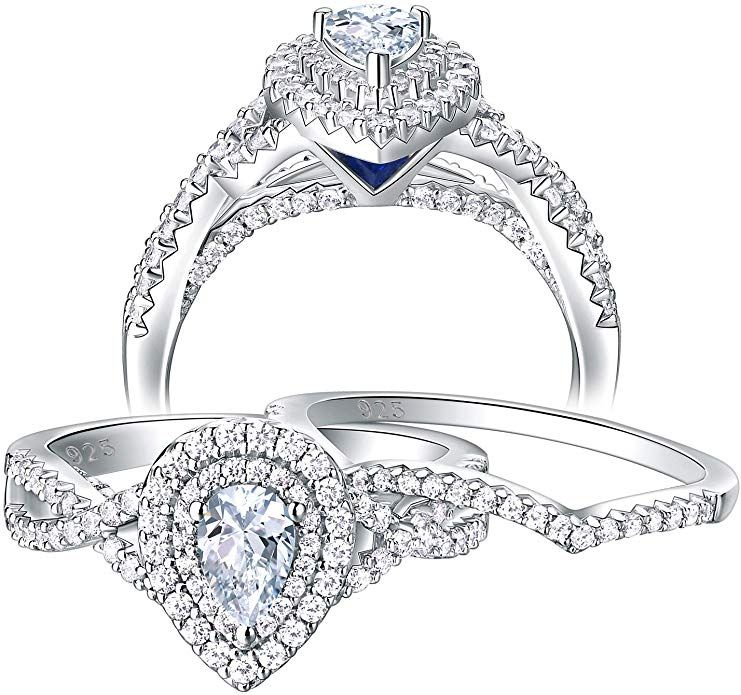 Newshe Pear Bridal Engagement Wedding Ring Set for Women Rose Gold Cz 925 Sterling Silver Size 5-10