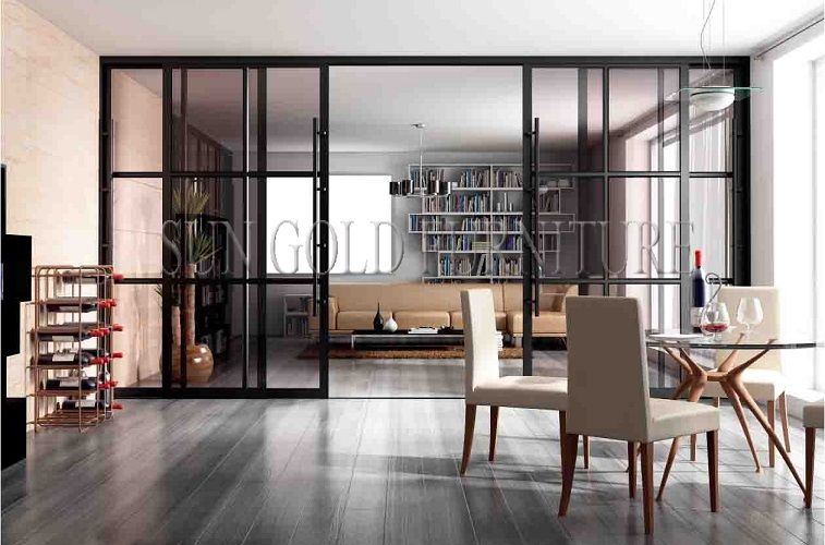 Modern Office Living Room Glass Sliding Door Partition Wall Sz