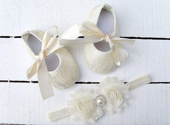 ef93b27ac24a2 Baby ivory Lace Shoes and headband set,Baby Shoes,Christening ...