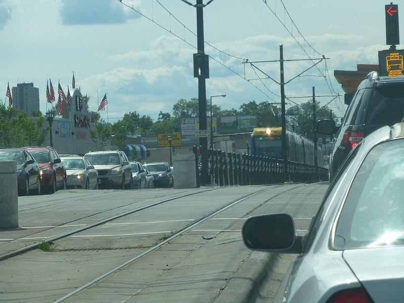 Light Rail crossing Dale Street
