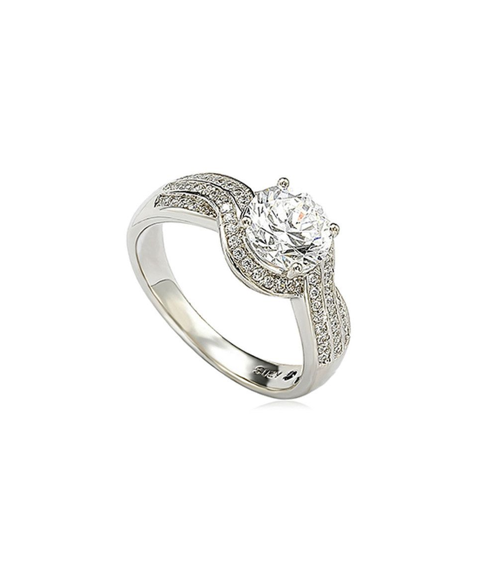 Loving this Cubic Zirconia & Sterling Silver Engagement Ring on #zulily! #zulilyfinds