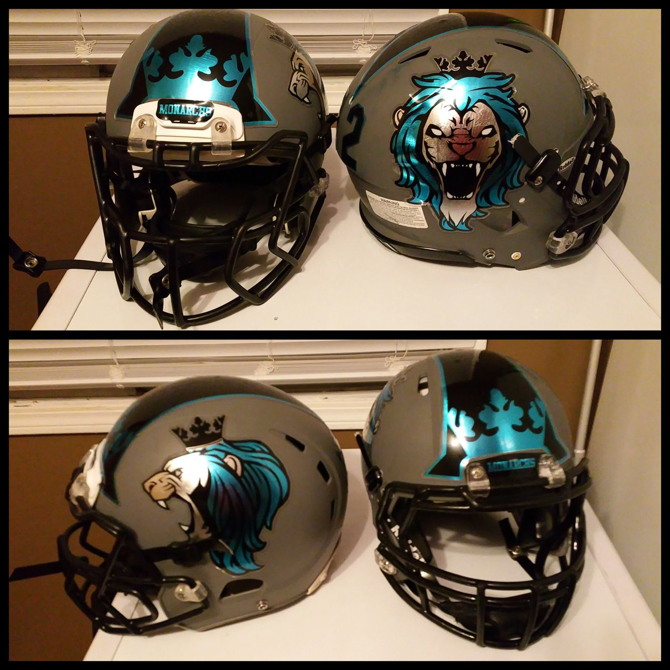New Chrome Football Helmet Decals For Fortmacmonarchs Featuring A - Custom reflective helmet decals