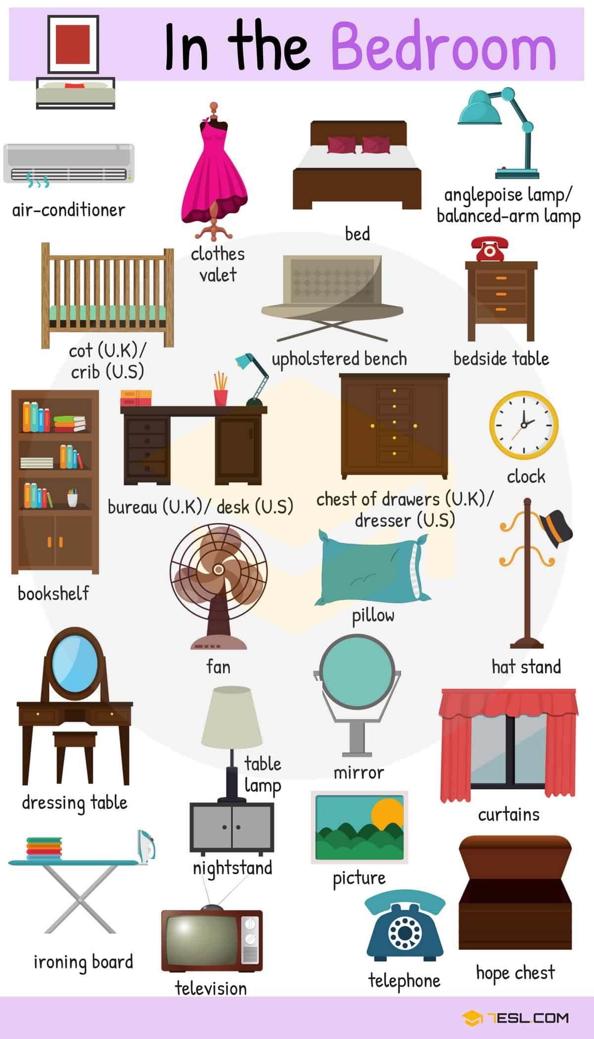 Bedroom Furniture Things In The Bedroom With Pictures 7 E S L English Vocabulary Learning English For Kids Learn English Vocabulary