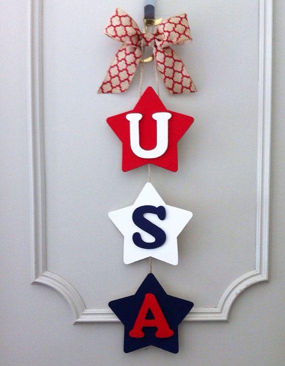 USA Door Hanger Stars with Burlap Bow #labordaycraftsforkids