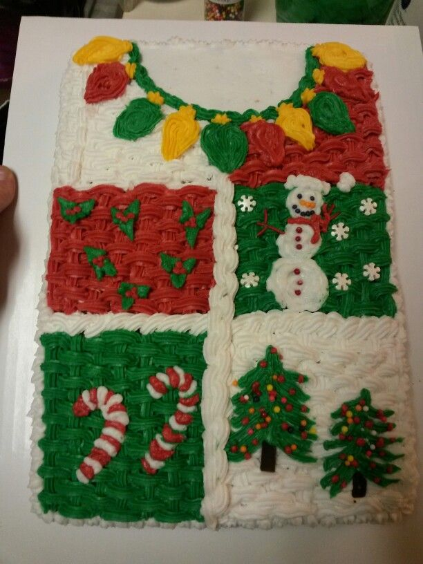 Ugly Sweater Cake Cakes In 2019 Christmas Desserts