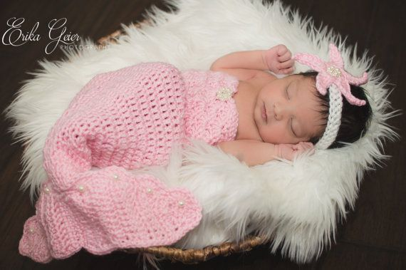 Pattern- Crochet Newborn Mermaid Outfit with Starfish Headband ...