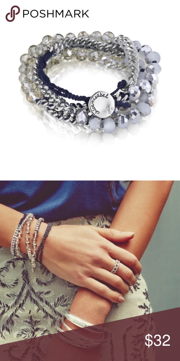 """Chloe + Isabel Bead + Chain Multi-Wrap Bracelet Navy thread, black diamond + mirrored opal glass beads are hand-crafted into a multi-wrap chain bracelet with an extended loop for adjustable fit. -shiny silver-plated -nickel-free plating -27.5"""" - 29"""" adjustable length -button closure -black diamond glass + navy thread Chloe + Isabel Jewelry Bracelets"""