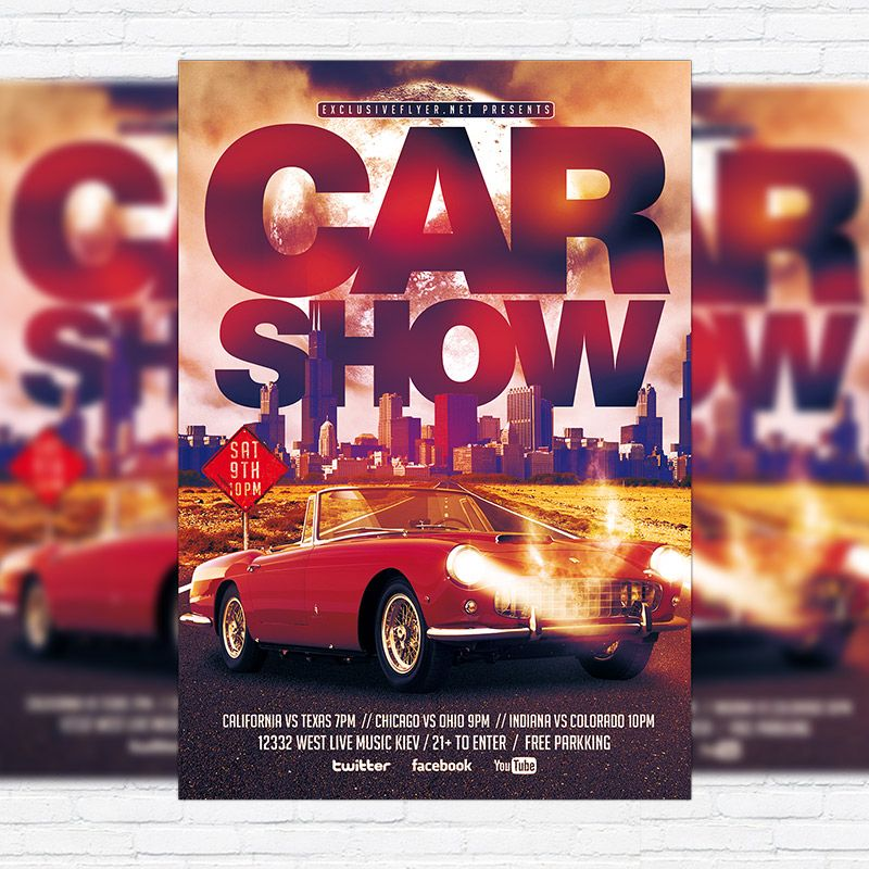Car Show u2013 Premium Flyer Template + Facebook Cover   - car flyer template