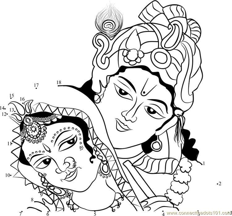 Krishna Radha Connect Dots Art Pictures Ganesh Art Drawings
