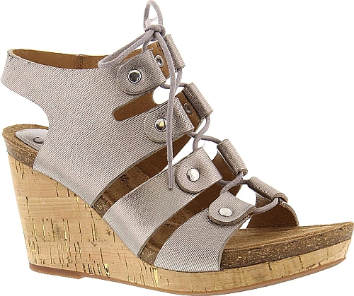 aea0bda253 Sofft Carita Women's Pewter Sandal. Give your warm-weather look a lift with  this seriously stylish wedge sandal. Leather upper. Adjustable ghillie laces .