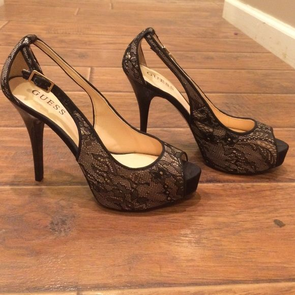 GUESS shoes real leather peep toe pumps trendy ladies platform sandals brown